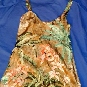 Tommy Bahama Brown Palm and Flower Dress